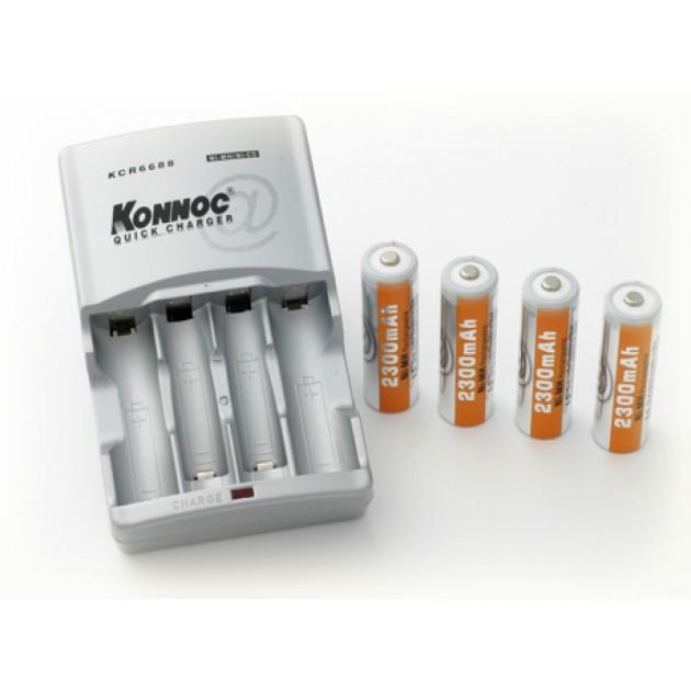 Caricabatteria Rapid con 4 batterie AA 2600 mAh