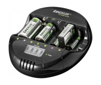 Caricabatterie universale con LCD casa/auto
