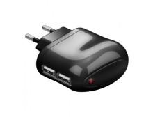 Trasformatore da rete italiana a 2p USB 2 A nero